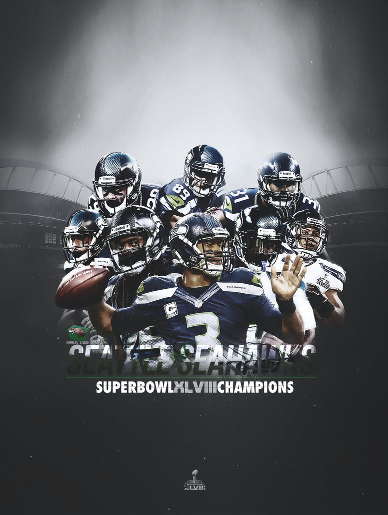 Seattle Seahawks - Super Bowl XLVIII Poster by TheHawkeyeStudio
