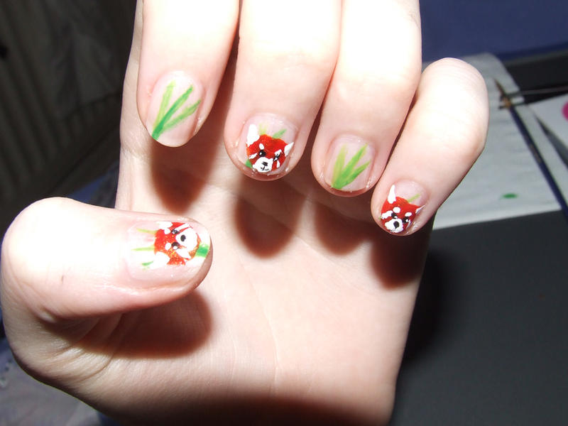 Red panda nail art by wiggymole on deviantart red panda nail art by wiggymole prinsesfo Image collections