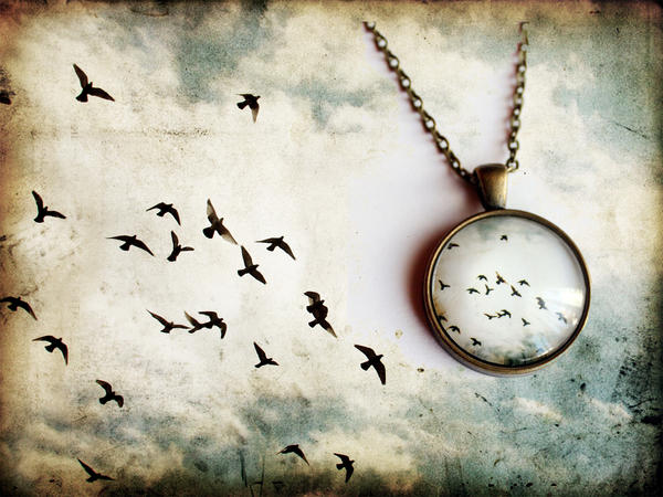 Flying Birds Pendant- Freedom necklace by candymax