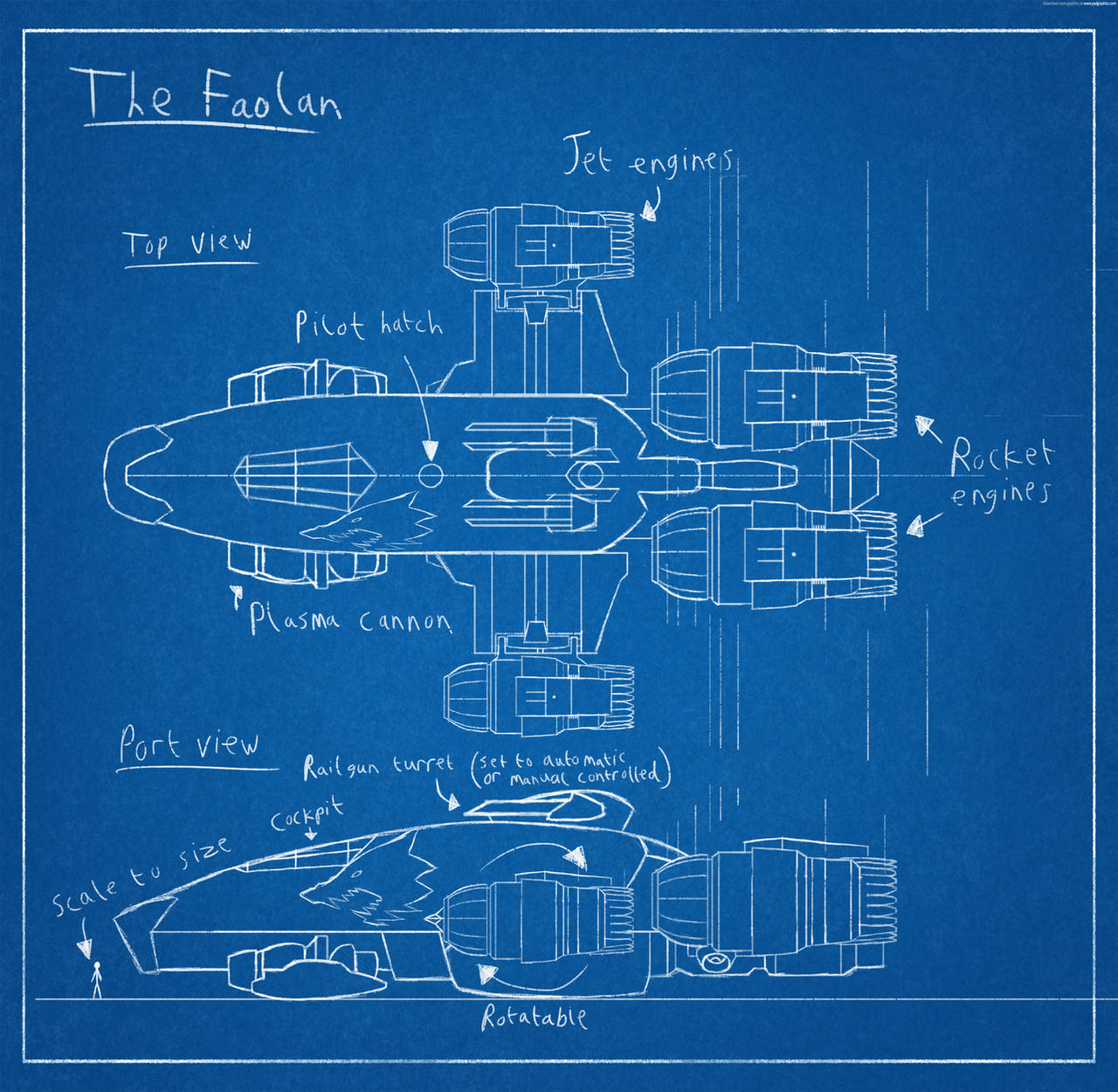 Spaceship blueprint the faolan by harveygall on deviantart spaceship blueprint the faolan by harveygall malvernweather Image collections