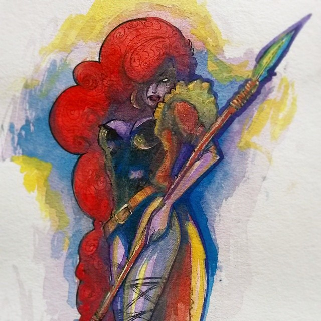 Watercolour Warrior Woman by Honesty-Art-Fashion