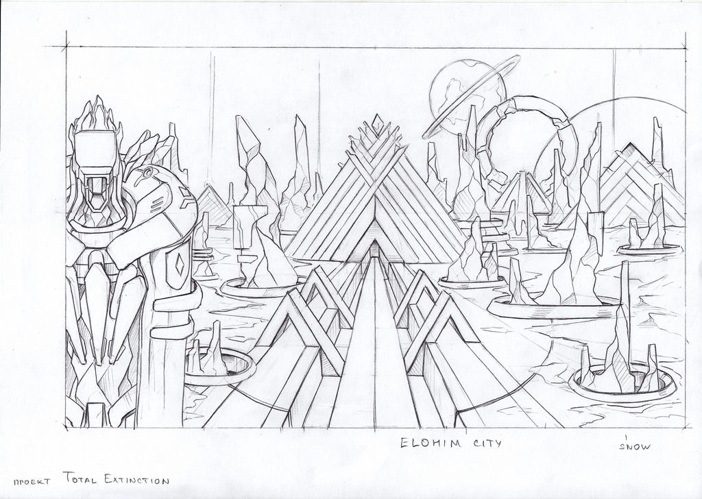 Elohim city sketch by TugoDoomER