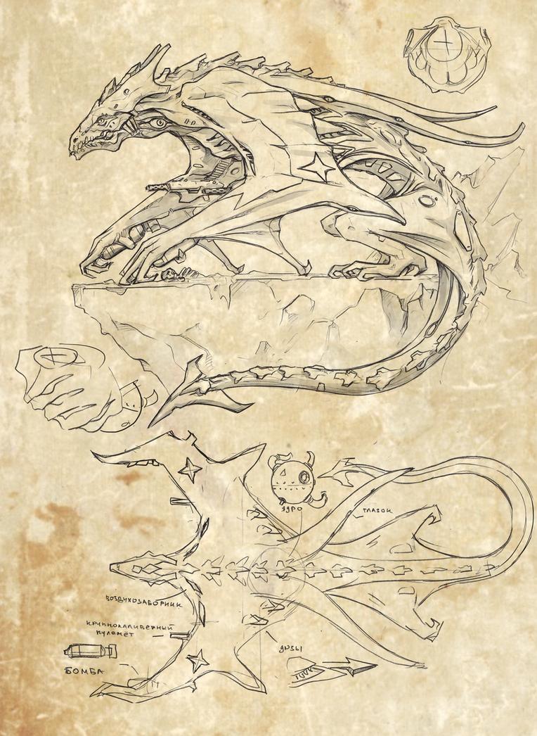 Interbellum biomech dragon by TugoDoomER