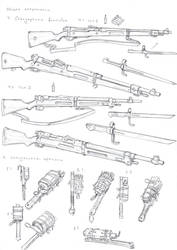 Standard bolt-action rifles and DIY grenades