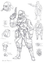 Rosalian officer with gasmask art by TugoDoomER