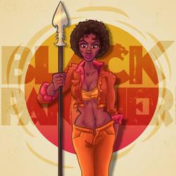 Wakanda Warrioress 70s Style by DC-Tiki