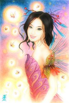 fairy and fireflies.