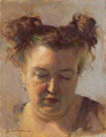 Jeff Morrow 'Pigtails' 14'x11' by OilPaintersofAmerica