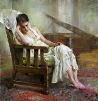 Mary Qian  White II  18'x17' by OilPaintersofAmerica