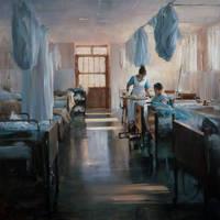 Jeff Merrill 'La Enfermera' Oil 36' by OilPaintersofAmerica