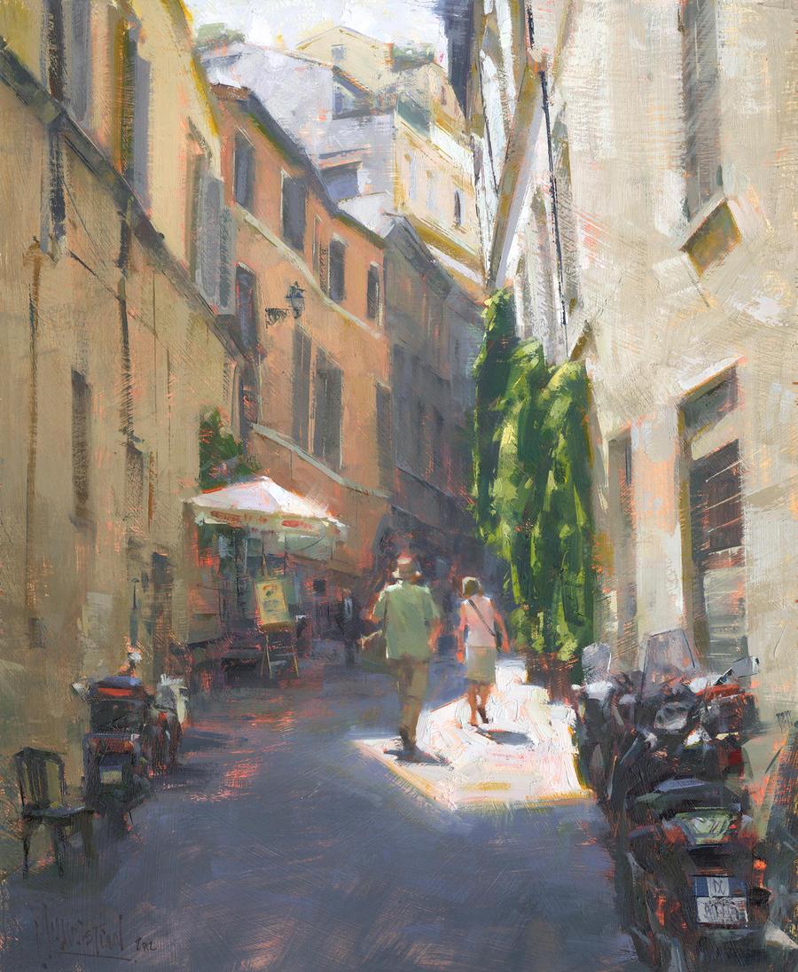 Traipsing in Trastevere - Jennifer A. McChristian by OilPaintersofAmerica