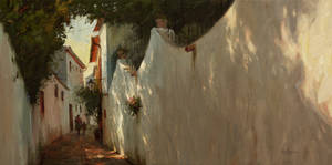 Alley Way, Ronda, Spain - Kenn Backhaus, OPAM by OilPaintersofAmerica