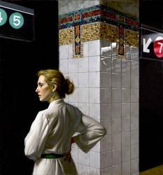 Elin - Waiting by Daniel Greene OPAM by OilPaintersofAmerica