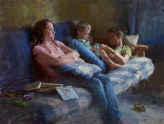 Babysitters by Adam Clague by OilPaintersofAmerica