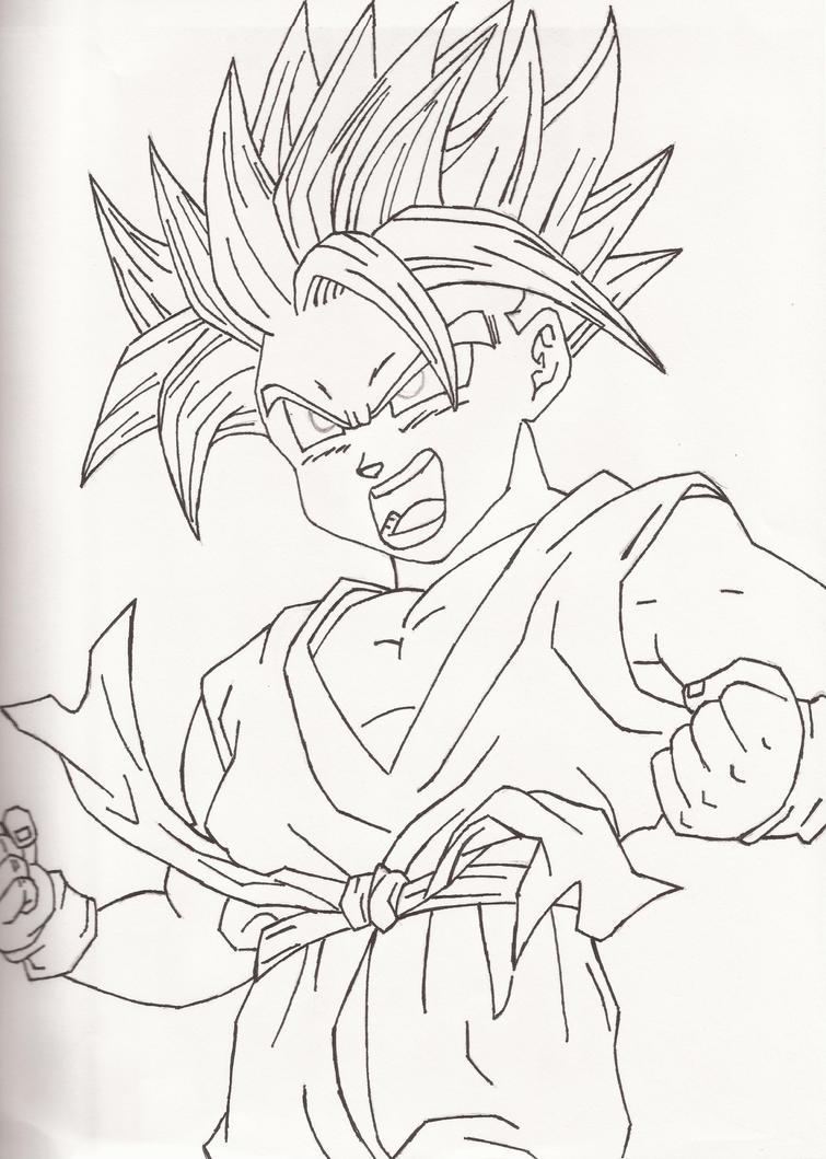 Super saiyan kid trunks by earthquake2009 on deviantart for Super saiyan trunks coloring pages