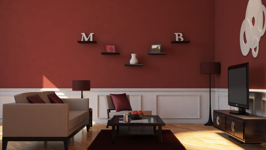 Maroon Living Room with VrayforC4D