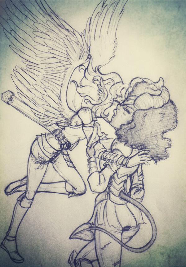 Steven Universe - GarnetxPearl - Angels and Demons by gyakuten-no-megami