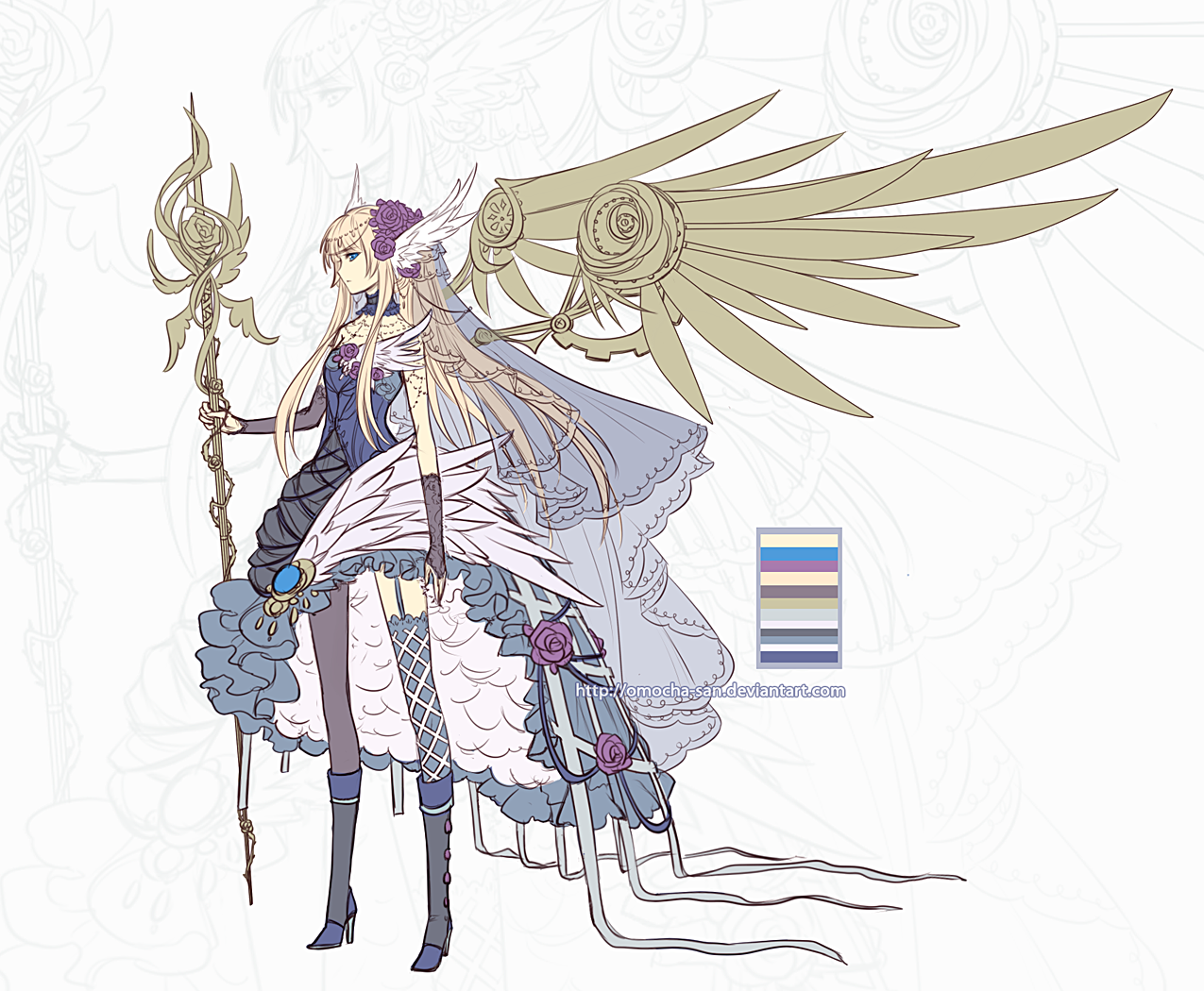 Adoptable: Steampunk Rose Angel by ZenithOmocha