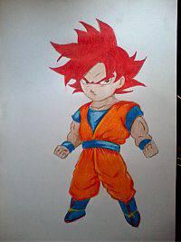 2013 drawing - God Mode Goku Chibi :) by nielopena