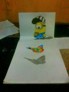 2013 drawing - 3D Minion and Butterfly by nielopena