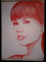 2014 Drawing - T.Swift in red :) by nielopena