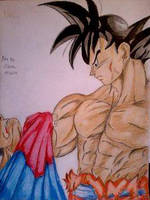 2014 Drawing - Goku Vs. Superman (i forgot the S) by nielopena