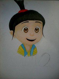 2014 Drawing - wip of Agnes from Despicable Me :) by nielopena