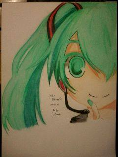 2014 Drawing - Miku Hatsune :) by nielopena