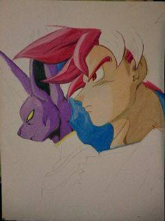 2014 Drawing - wip of God mode Goku and Bills by nielopena