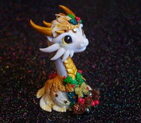 Christmas Dragon bust by Azura-Roselion