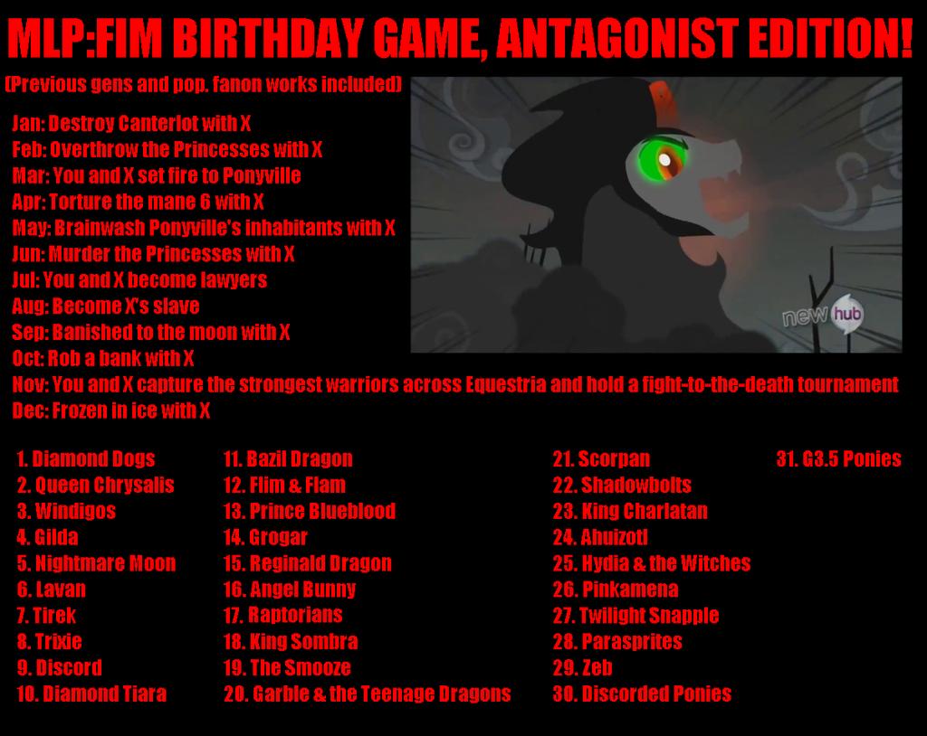 villains of equestria - b-day games