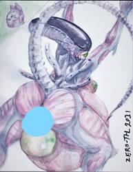 Censored~Comm~XenoLady laying eggs! by ZERO-THL