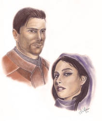 Carth and Revan Portrait by mizzillan