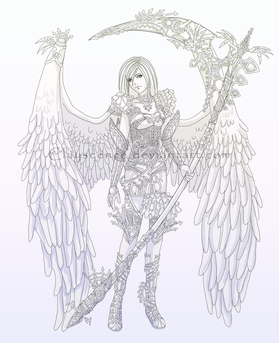 Line Art Angel : Lineart guardian of the angels by clayscence on deviantart