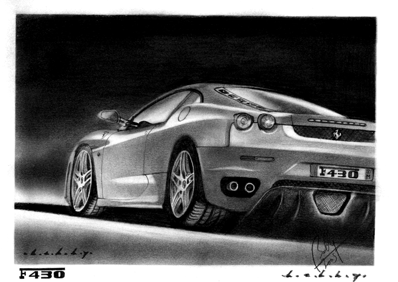 Ferrari F430 Pencil Portrait