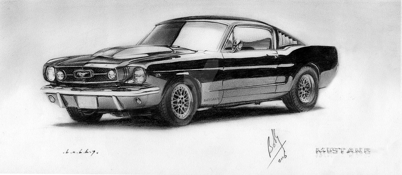 Ford Mustang Pencil Portrait by Bobby-Sandhu