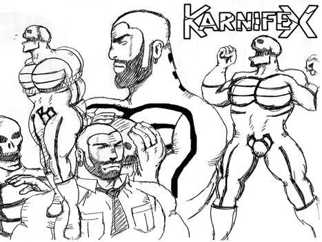 1960s body-builder Karnifex - biro sketch