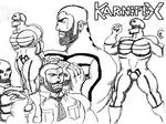 1960s body-builder Karnifex - biro sketch