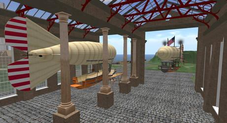 Steampunk: Inside Airship Hanger by FannyShandy