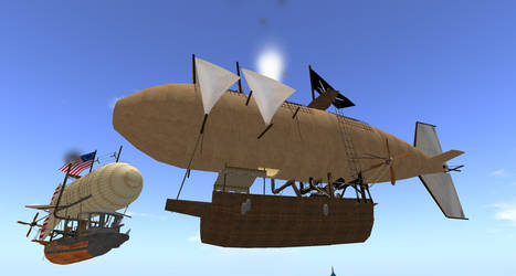 Steampunk Airship Battle over the West Coast by FannyShandy