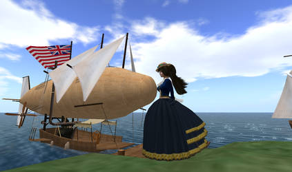 Steampunk Airship Moored on the coast by FannyShandy