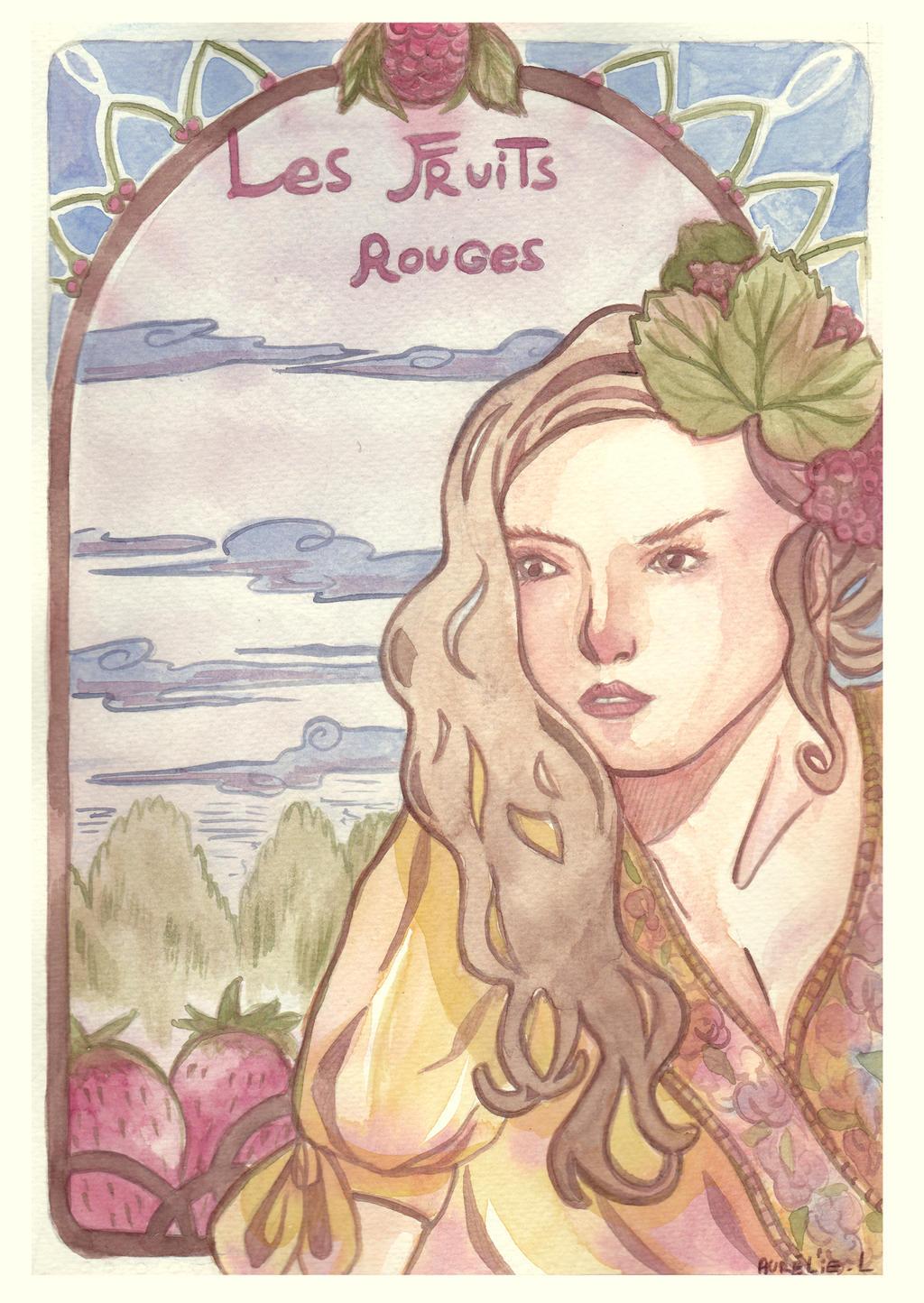 watercolor : Les Fruits Rouges by hiromihana