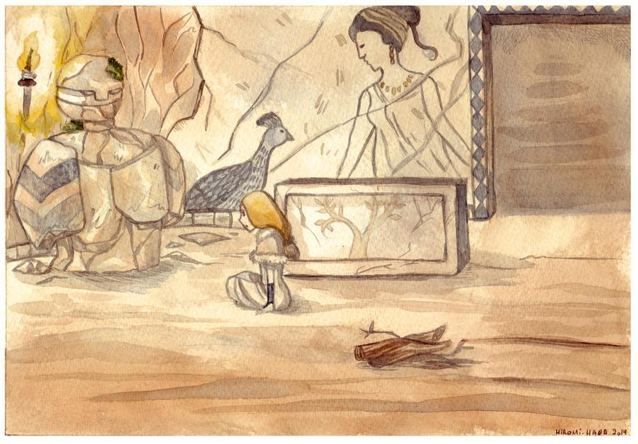 Watercolor: Iris et le Golem by hiromihana