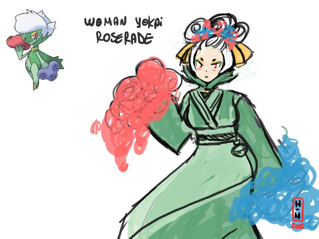 Sketch: Woman yokai Roserade by hiromihana
