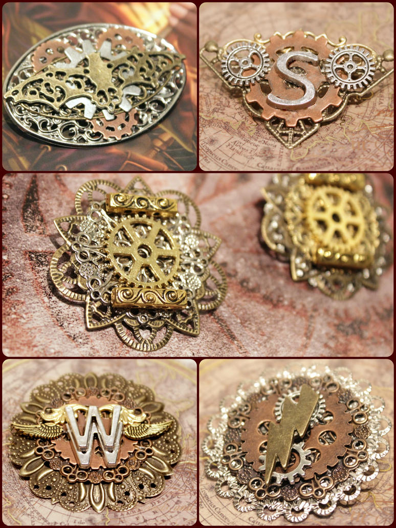 DC Steampunk Justice League Pins by ZTKuko