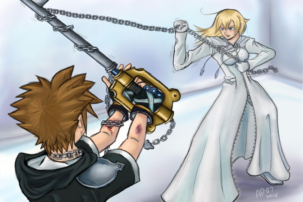 Sora Kingdom Hearts Lineart : Namine versus sora by ztkuko on deviantart