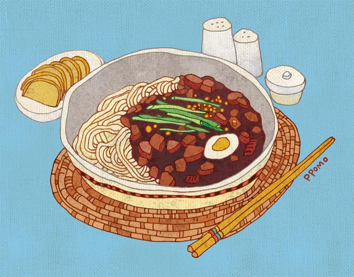 Food - Black Bean Sauce Noodles (Jajangmyeon) by PPOMO