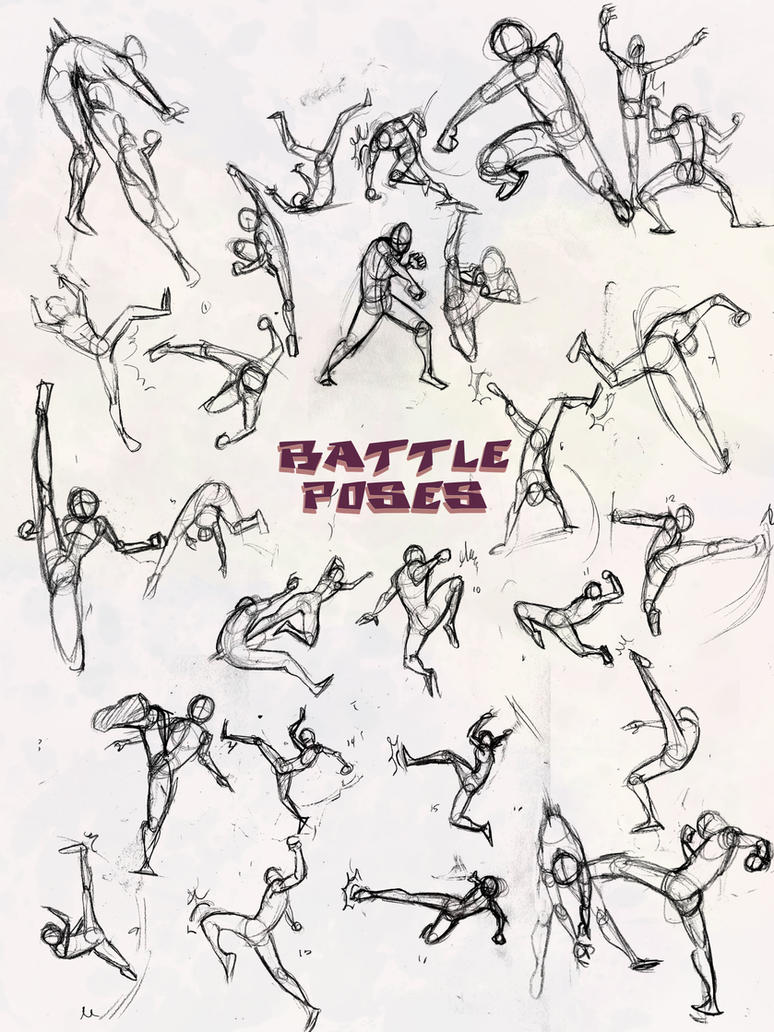 battle poses kick and punch by elementjax on deviantart