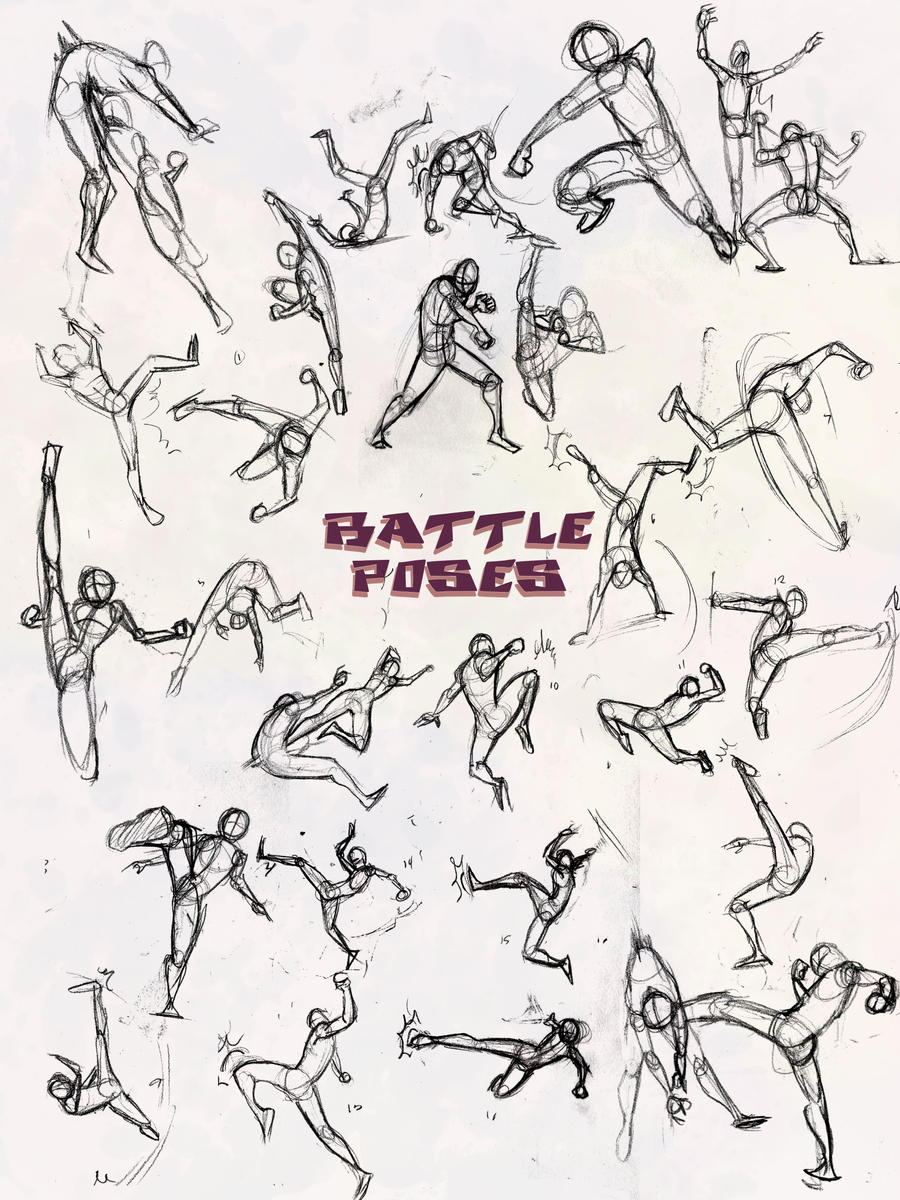 Battle Poses- Kick and Punch by ElementJax