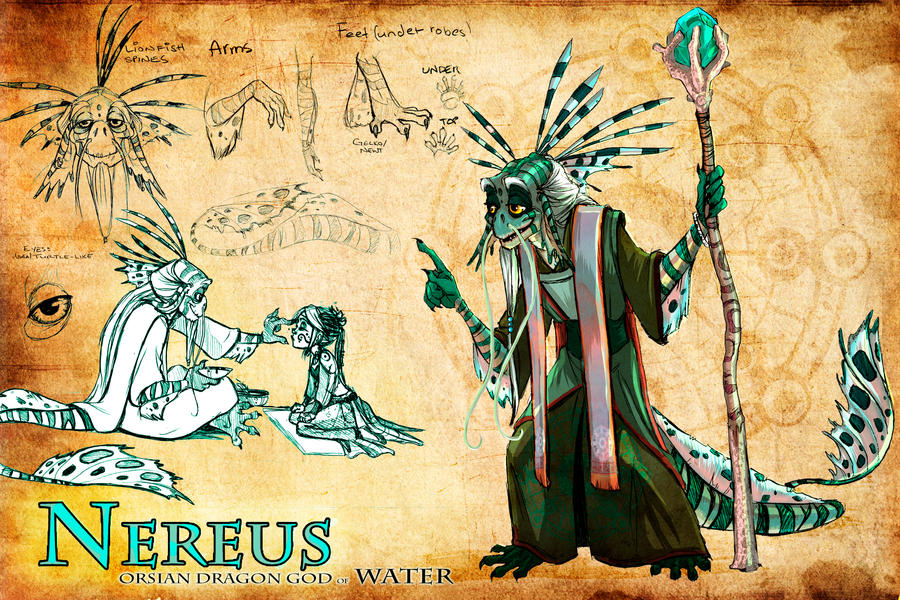 Nereus- Dragon God of Water by ElementJax
